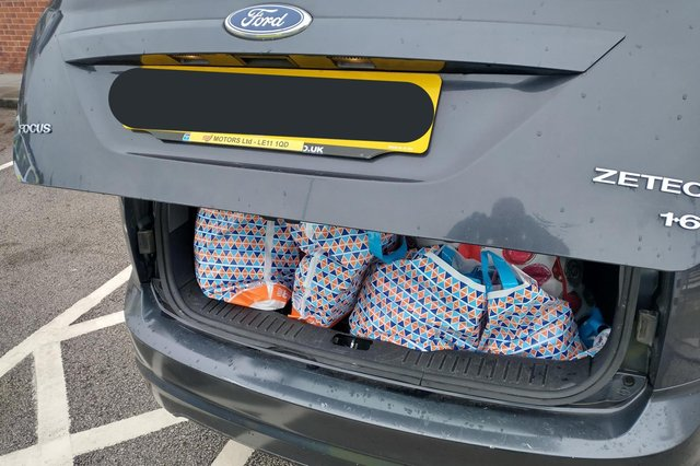 Over £1,200 of stolen goods was found in the boot of a Ford Focus in Chesterfield.