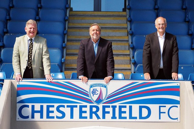 Chairman Mike Goodwin, centre, says the Spireites would like to build a new training facility.