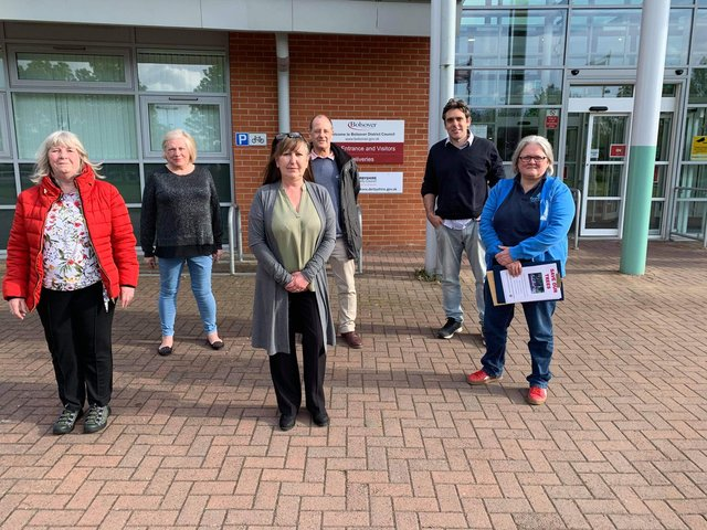 Campaigners from Glapwell hand over their petition to Bolsover District Council.