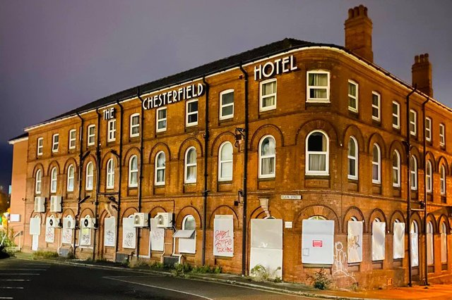 The boarded-up hotel faces demolition imminently.