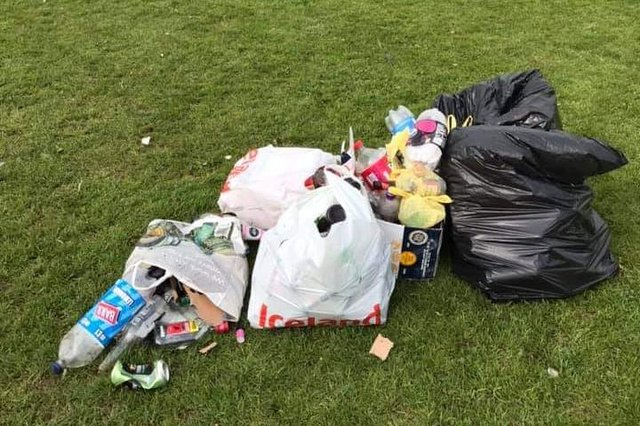 Litter and debris left in Holmebrook Valley Park in Chesterfield.