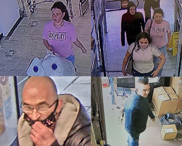 Police are hunting those pictured here for thefts and other crimes in Chesterfield and surrounding areas