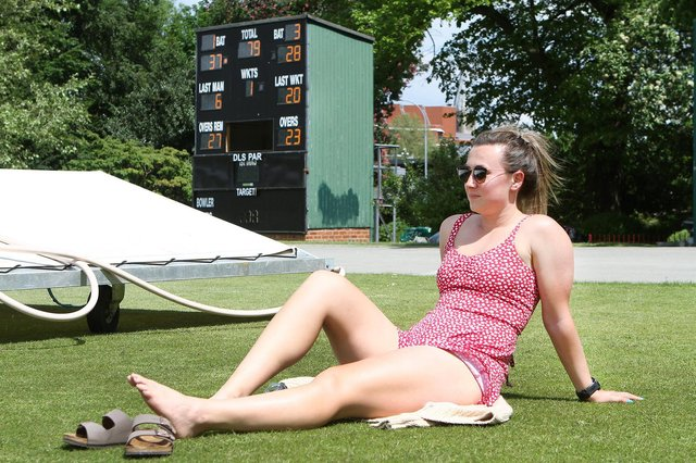 Jess Freeman topping up her tan whilst watching the cricket at Queen's Park in Chesterfield