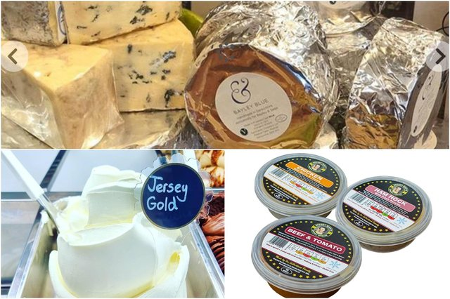 Cheese from Hartington Dairy, ice cream from Tagg Lane Dairy at Monyash and Granny Mary's potted meats which are made in Hasland.
