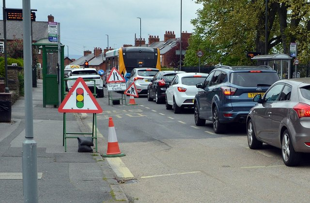 The Hasland Road works are causing traffic 'chaos'