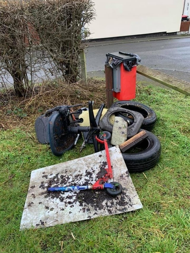 Litter picks found old tyres on their clean up of the Staveley and Lowgates area.