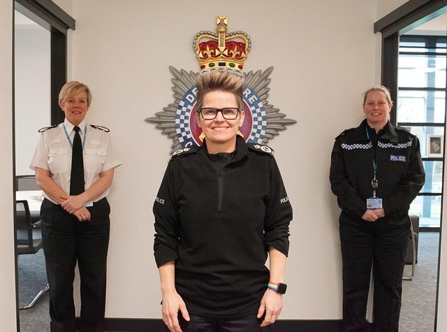Chief Constable Rachel Swann (centre), Deputy Chief Constable Kate Meynell (left) and Assistant Chief Constable Michelle Shooter (right).