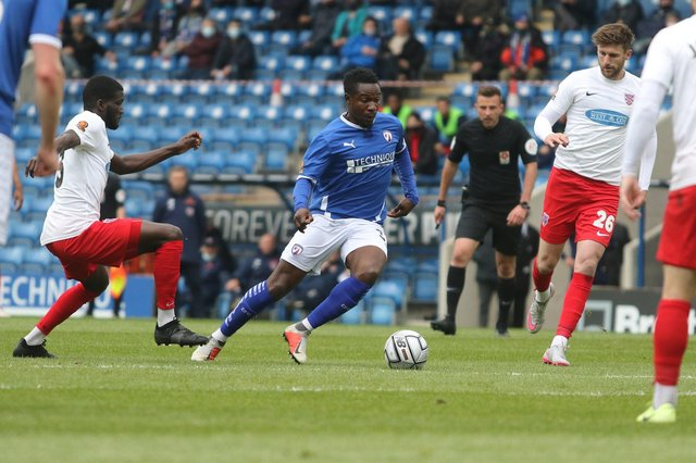 The National League play-off race is going down to the final day of the season: Pictured: Manny Oyeleke.