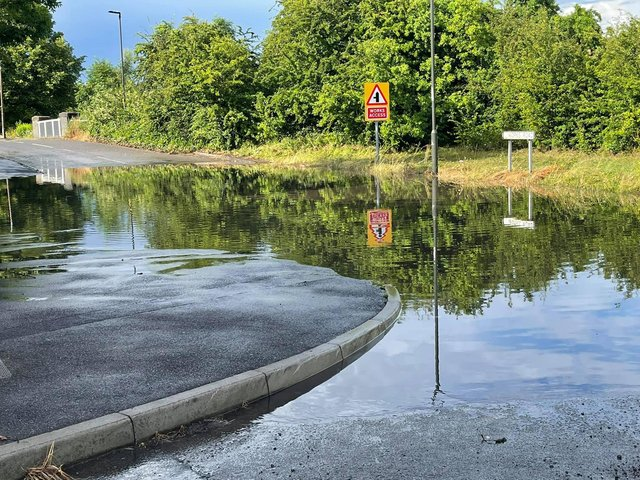 The flooding on Works Road, Hollingwood, last night (picture: Alice Daisy Squires)