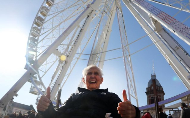 Jack Reynolds was all smiles after he rode Chesterfield's big wheel a few years ago.
