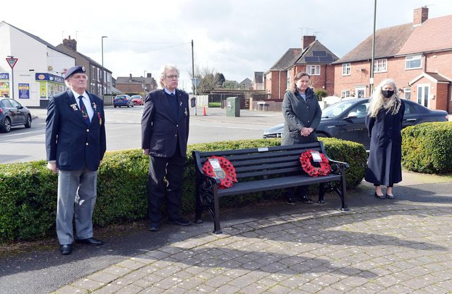 Trevor Higginson, social secretary of  North Wingfield branch of Royal British Legion, Tony Waters, chairman of North Wingfield branch RBL, Camille Ramshaw, chairman of Tupton Parish Council and Cathy Goodyer, vice-chairman of Tupton Parish Council take part in the two-minute silence in memory of the 11 bomb victims.