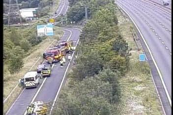 The M1 southbound exit slip road at Junction 29A is closed due to a serious collision. Credit: Highways England.