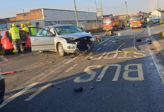 The scene of the crash on  February 4 last year. Photo Shirebrook Police SNT.