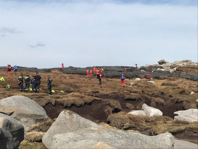 Crews tackle yesterday's fire on Kinder Scout. Image: DFRS.