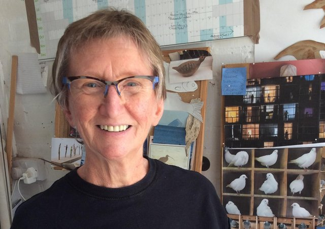 Vivienne Sillar has made a dozen smoke-fired ceramic pigeons for the Peak District Artisans exhibition.