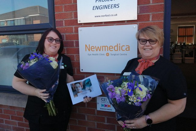 Unpaid carers Marie Pierrepoint and Ellen Sherwood were gifted flowers by eye health clinic and surgical centre Newmedica Barlborough.