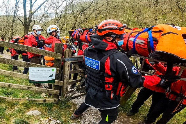Mountain rescuers and an air ambulance were called to Haddon Grove yesterday after a walker tripped and injured their hip. Credit: Buxton Mountain Rescue.