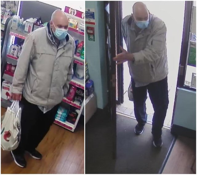 Officers investigating an incident where a pharmacist was racially abused in Holme Hall have released these images of a man they would like to speak to