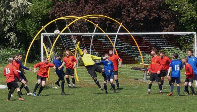 Action from Newbold Community FT Youth's 4-1 win over Grassmoor Sports Res in Division 6. Pic by Martin Roberts.