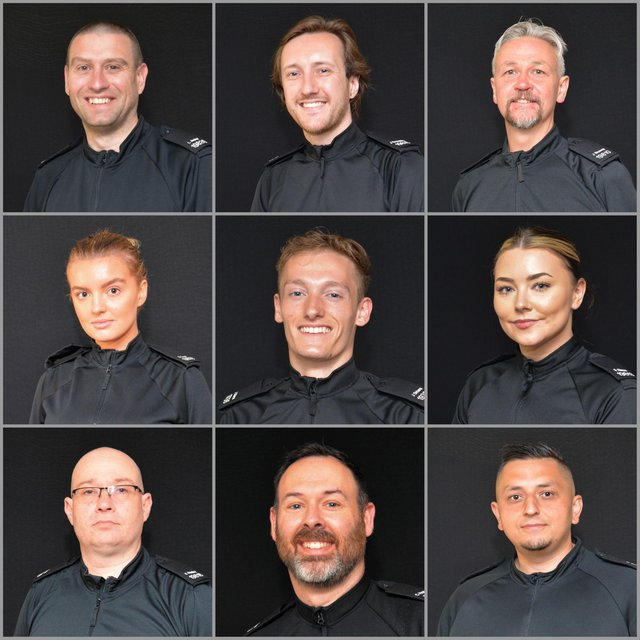 Nine of the 19 new special constables who have completed their training.
