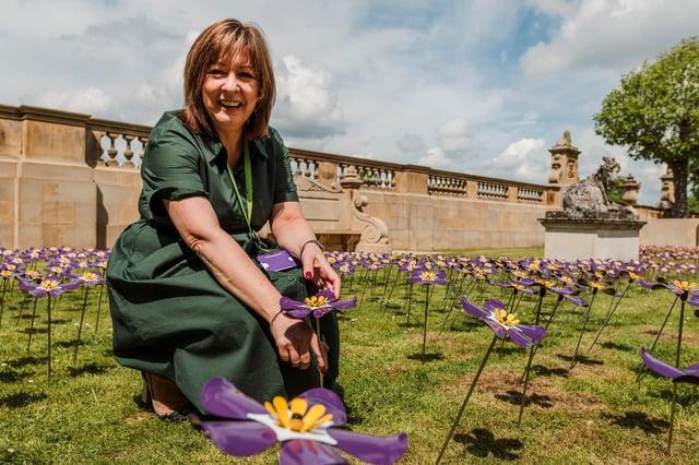 Ashgate's chief executive Barbara-Anne Walker at the display at Chatsworth.