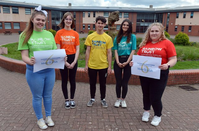 Tupton Hall students are to hold charity fundraising event to raise money for Rainbows Trust and Make a Wish after having their prom cancelled twice. Year 12 pupils Chloe Elliott, Mia Hudson, Brayden Hancock, Charlotte Bradbury-Marsh and Willow Wells who are helping organise the day.