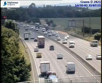 A vehicle broke down on the M1 southbound near Chesterfield earlier this afternoon (Thursday, July 15). Credit: Highways England.