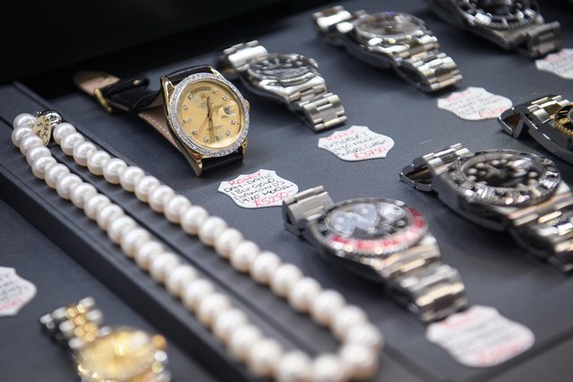 A diamond-encrusted Rolex watch is seen in a store window in the financial district, also known as the Square Mile, on January 20, 2017 in London, England. (Photo by Leon Neal/Getty Images)