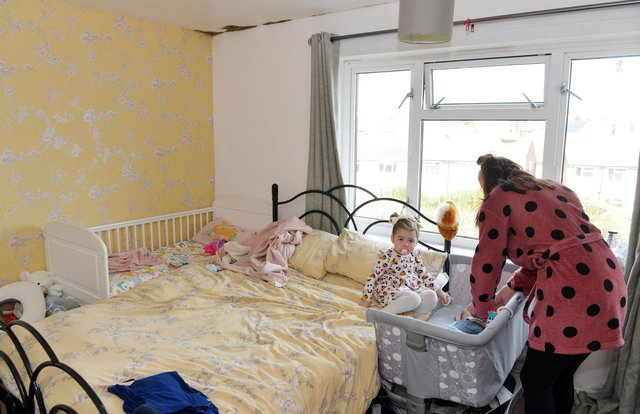 Hollie-Mai is currently living in a one-bed flat with her two young children - Elsie-Mai and Oscar as well as her partner Joshua Walker. She has been bidding to get a larger council property for over a year.