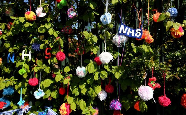 Homemade pompoms showing support for the NHS (Photo: Ross Kinnaird/Getty Images)