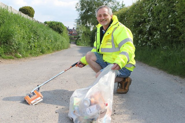 Mick Hind, from Bolsover, has started litter picking while parked up in his job as a lorry driver.