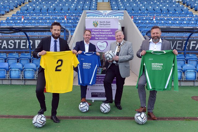 A charity match organised by Coun Martin Thacker, chairman pf NEDDC, will take place at Chesterfield FC. Pictured are Steve Day, from Jewsons, Richard Harding, head of construction Morgan Sindall, Coun Thacker and Jason Stapley, chairman of Pagabo Foundation.