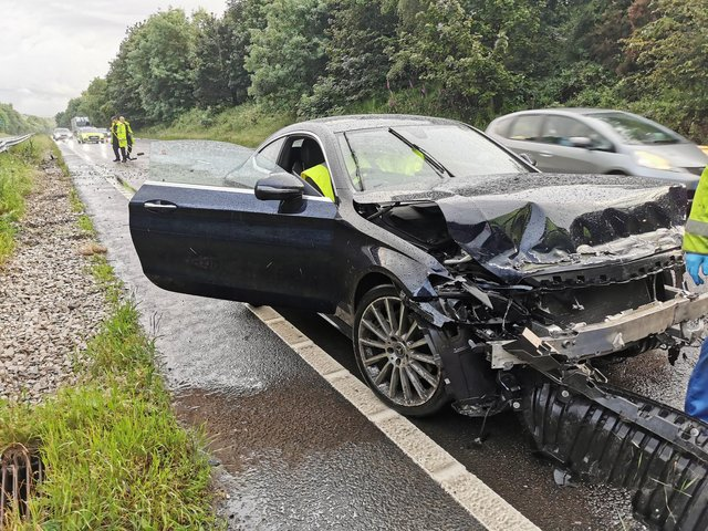 A Mercedes driver crashed his car on the A38 in Derbyshire yesterday while Harry Kane was smashing his 4th minute goal against Ukraine into the net.