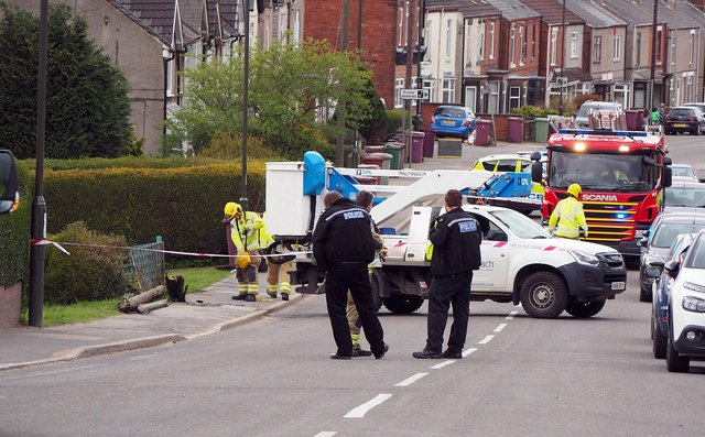 Emergency services at the scene of the crash on Williamthorpe Road, North Wingfield. Pictures and video by Brian Eyre.