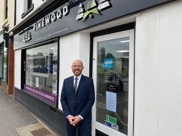 Stacey Davies-Bowler, managing director of Pinewood Properties, outside its branch on Holywell Street, Chesterfield town centre.