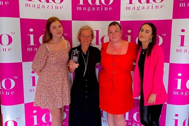 The Finesse Brides team collecting their trophy at the I Do Wedding Awards. Pictured (left to right): Holly, Debbie, Kirsty and Codie.