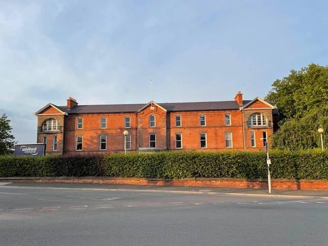 The old Chesterfield Royal Hospital on Holywell Street  which closed in 1984.