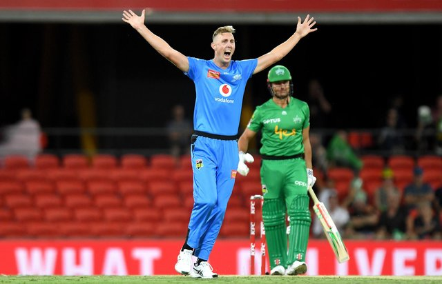 Billy Stanlake in action for Adelaide Strikers during the Big Bash League. (Photo by Bradley Kanaris/Getty Images )