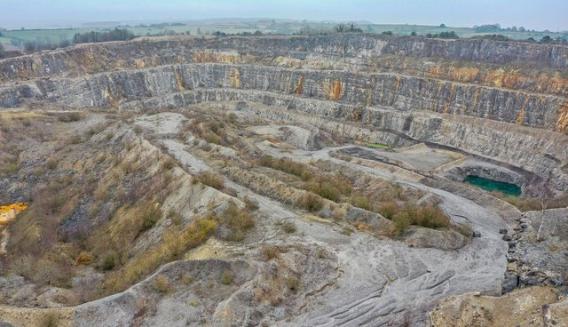 A drone's eye view of the quarry at Crich.