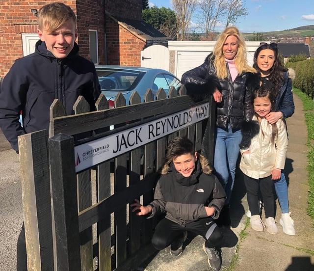 At Jack Reynolds Way are Jack's daughter Jayne Goodwin and great-grandchildren Jack Spencer, Charlie Spencer, Shannon Spencer and Brooke Spencer.