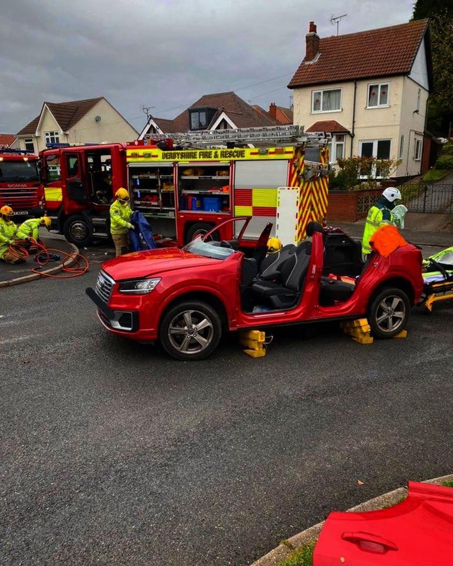 A woman was cut out of an Audi following a collision in Shirebrook earlier today (Tuesday, May 25).