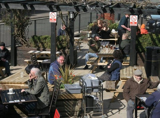 Drinkers flocked to beer gardens for a pint or two.