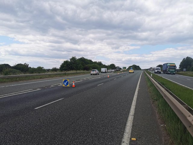 Police are now releasing traffic 'trapped' between junction 5 and 6 on the A50 Westbound - after a portion of the road was closed following a serious crash. Credit: Derbyshire Roads Policing Unit.