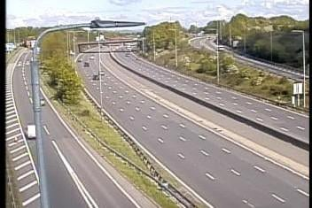 All lanes on the M1 northbound slip at Junction 28 in Tibshelf have now reopened. Credit: Highways England.