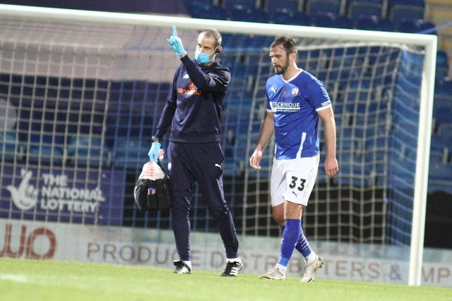 Gavin Gunning was forced off in the second half against Sutton United with a hamstring injury.