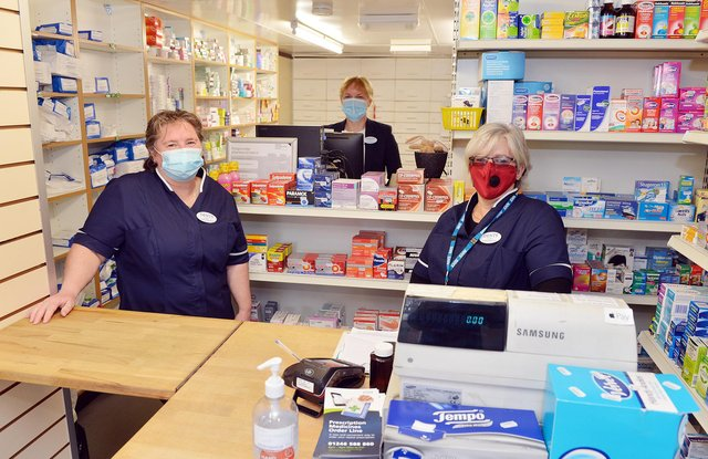 John Dent Pharmacy opens in new home. Pictured are Lynne Steele, dispensary assistant, Helen McConnachie, pharmacist manager, and Jayne Boyer, administration manager. Not in picture - Stewart Burton pharmacist, Ethna Nugent dispensary assistant and Catherine Pearce counter assistant.