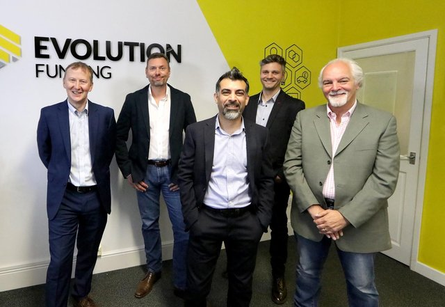 Evolution Funding finance director Kevin Kaye, Evolution Funding CEO Lee Streets, CIO Paul Saggar, Click Dealer CEO Ollie Moxham, Click founder and CVO Gerry Moxham.