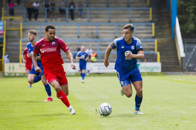 Chesterfield play Notts County in the play-offs on Saturday. Pictured: Curtis Weston in action against Halifax.
