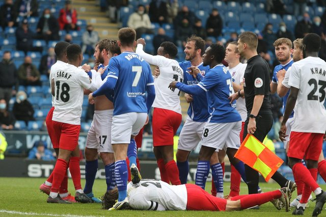 A scuffle erupted following the awarding of Chesterfield's penalty.