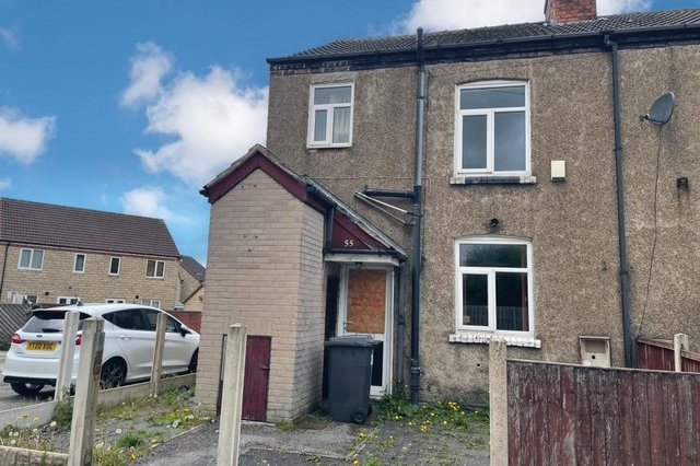 """55 West Lea, Clowne, is described as a """"three-bedroom, end-of-terrace house, requiring modernisation""""."""